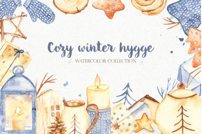Watercolor cozy winter Hygge clipart Christmas winter collection