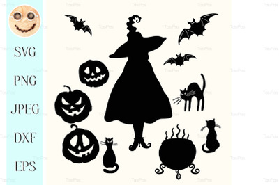 Witch, pumpkin lantern, cat, cauldron and bat stencil