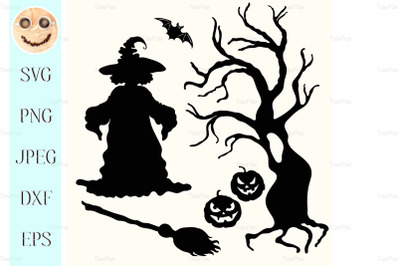 Witch, pumpkin lantern, tree, broom and bat on white