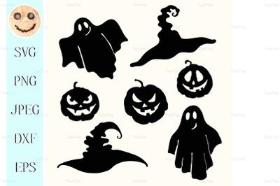 Ghost, pumpkin lantern and witch hat stencil on white