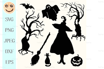 Silhouette witch, pumpkin lantern, ghost, trees, cat, broom and bat