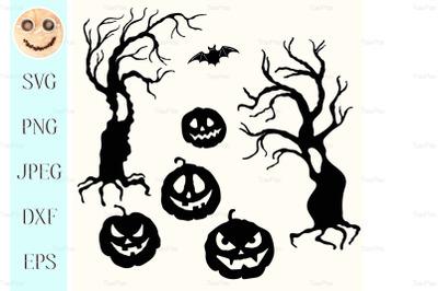 Halloween pumpkin lantern and tree stencil template