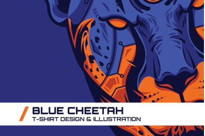 Blue Cheetah T-Shirt Illustration