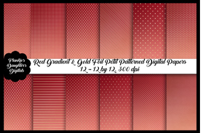 Red Gradient and Gold Foil Digital Papers