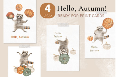 Ready to print autumn posters with cute raccoons and pumpkins