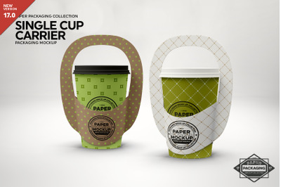 Single Cup Paper Carrier Mockup