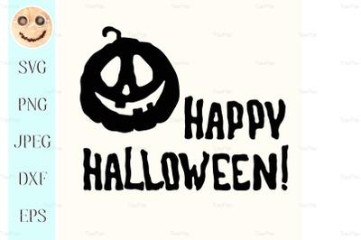 Happy Halloween title and pumpkin lantern on white