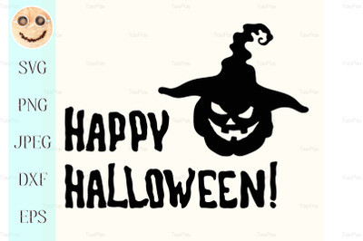 Happy Halloween title and witch hat pumpkin lantern