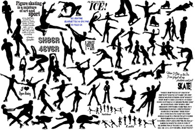 Ice Skating Silhouettes AI EPS PNG