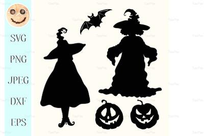 Black silhouette witches, pumpkin lanterns and bat