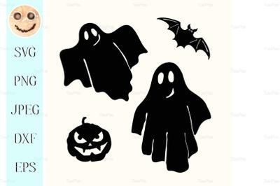 Black ghost, pumpkin lantern and bat stencil on white