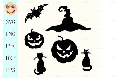 Halloween pumpkin lantern, black cat, witch hat, bat stencil