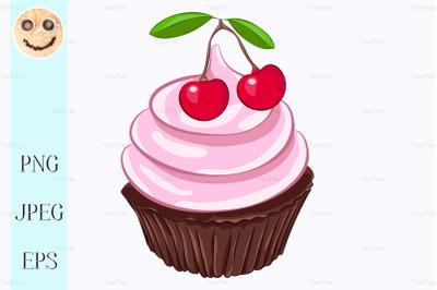 Chocolate cupcake with cherry whipped cream