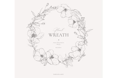 Pencil sketch floral wreath clipart