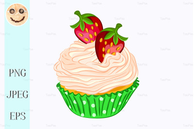 Cupcake with whipped cream and strawberry