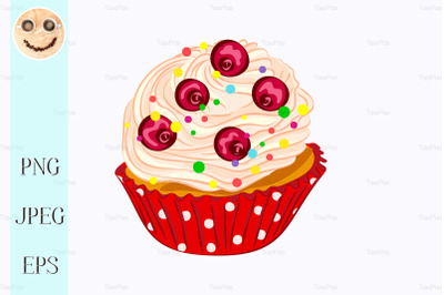 Cupcake with whipped cream and red berry