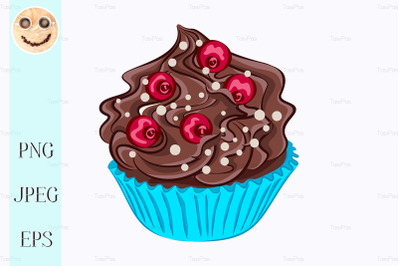 Cupcake with chocolate cream and red berry