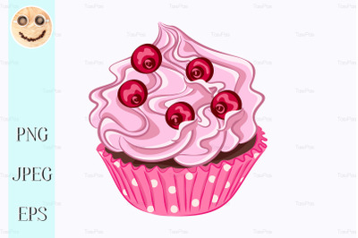 Cupcake with pink cream and red berry