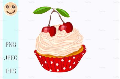 Vanilla cupcake with whipped cream and cherry