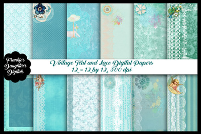 Vintage Teal and Lace Digital Papers