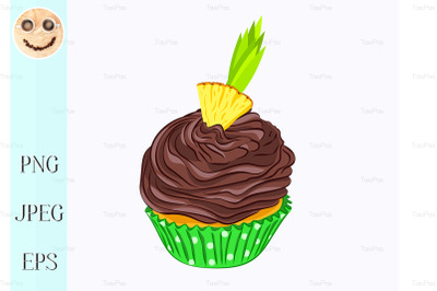 Cupcake with chocolate cream and pineapple