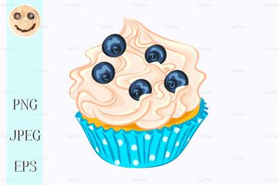Vanilla cupcake with cream and blueberry