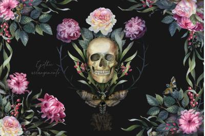 Watercolor Gothic wedding border clipart, dark Halloween floral arrang