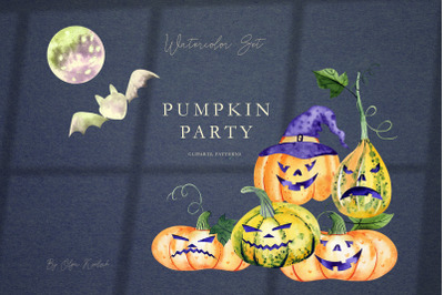 Watercolor Halloween Pumpkins Set