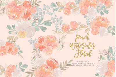 Peony Watercolor Clipart, pastel floral Watercolor Clipart