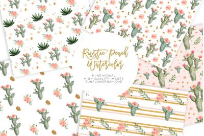 Watercolor Cactus Succulents, Digital Paper Pattern Pack