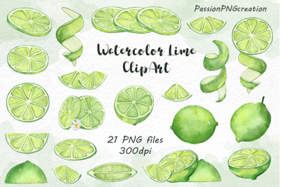Watercolor Lime Clipart
