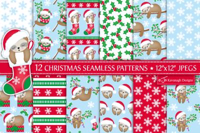 Christmas sloth digital paper, Christmas patterns, Cute sloth -P43