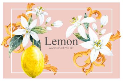 Lemon Watercolor Set (PNG+JPEG))