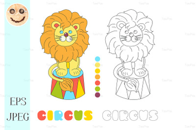 Funny lion sitting in a circus arena vector coloring book page