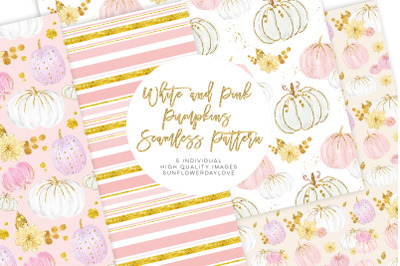 White and Pink Pumpkins Patterns, autumn pattern, planner clipart