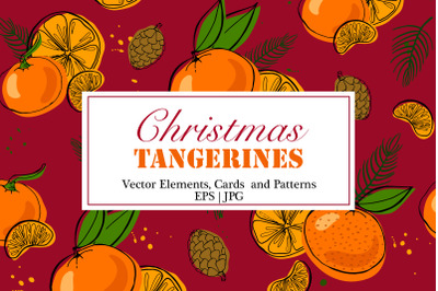 Tangerines Christmas Vector Clipart