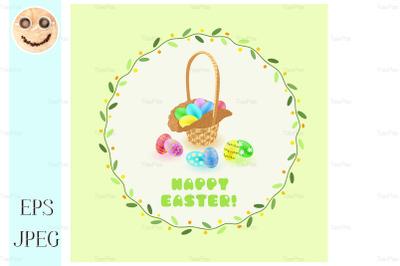 Easter eggs in the basket in green leaves frame