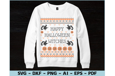 Happy Halloween Witches Ugly Sweater Design, Ugly Sweater, Halloween
