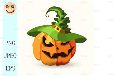 Halloween pumpkin wearing green witch hat