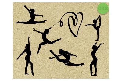 gymnastics silhouette svg bundle