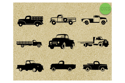 vintage farm pickup truck svg bundle