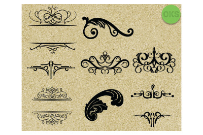 flourishes decorative borders svg bundle