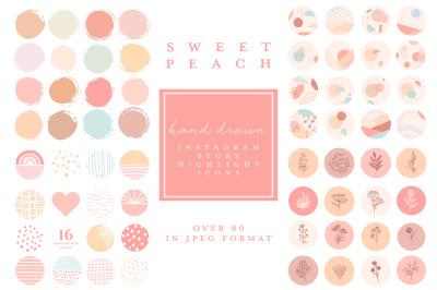 Instagram Highlight Covers - hand drawn feminine peach