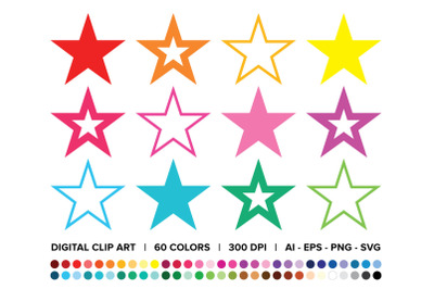 Star Trio Clip Art Set