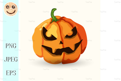 Vector Halloween spooky face pumpkin on white
