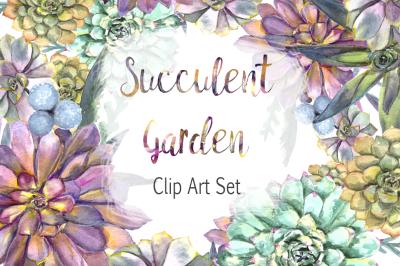 Watercolor Succulent Garden Clip Art Set