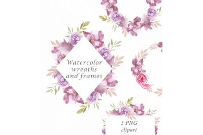 Floral watercolor clipart frames and wreaths, roses frame, botanical