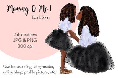 Watercolor FashionIllustration -Mommy & Me 1 - Dark Skin