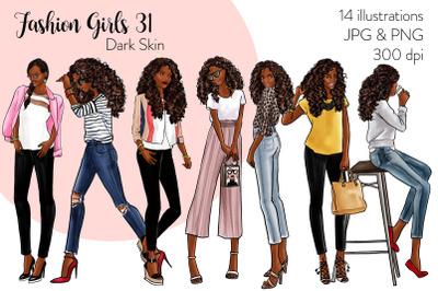 Watercolor Fashion Clipart - Fashion Girls 31 - Dark Skin