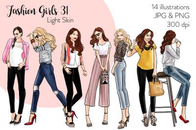 Watercolor Fashion Clipart - Fashion Girls 31 - Light Skin
